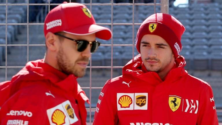 Sebastian Vettel with teammate Charles Leclerc