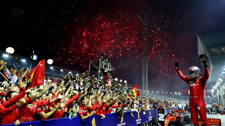 Sebastian celebrates in the 2019 Singapore Grand Prix